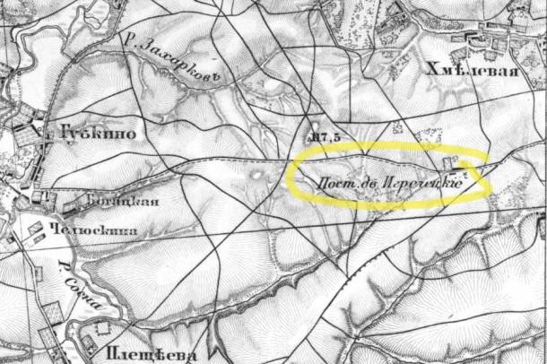 Постоялый двор Игреческие на карте Шуберта.